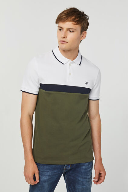 Herren-Piqué-Poloshirt in Colourblock-Optik Armeegrün