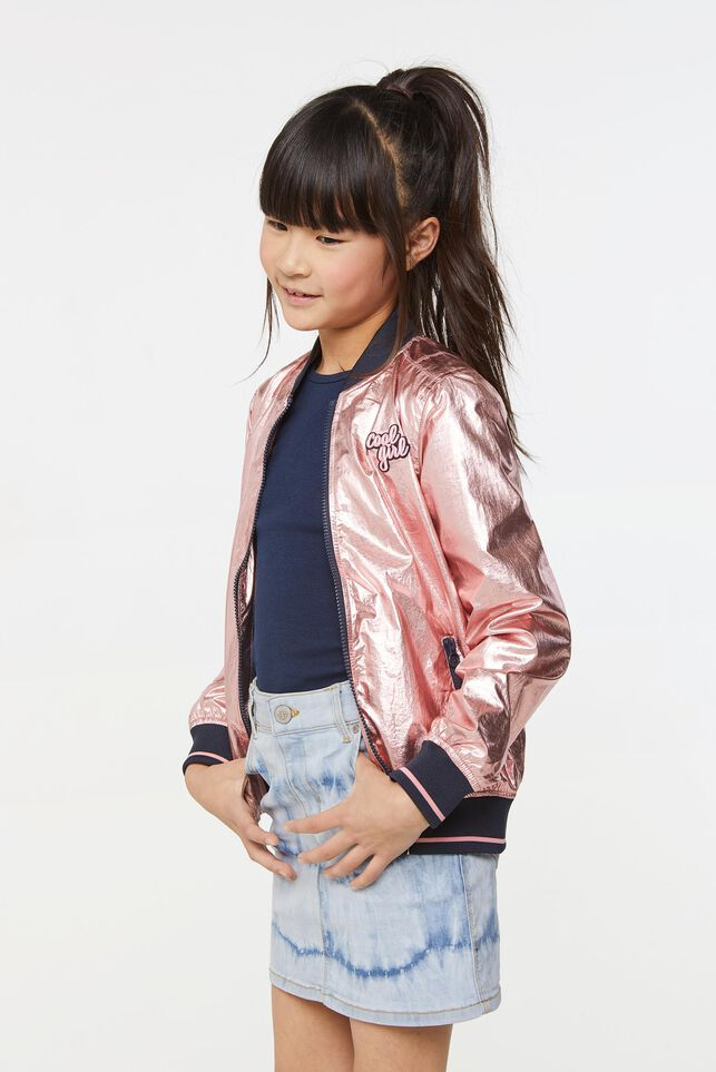 Mädchen-Bomberjacke in Metallic-Optik Rosa