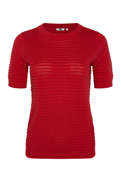 Damen-T-Shirt in Ripp-Optik Rot