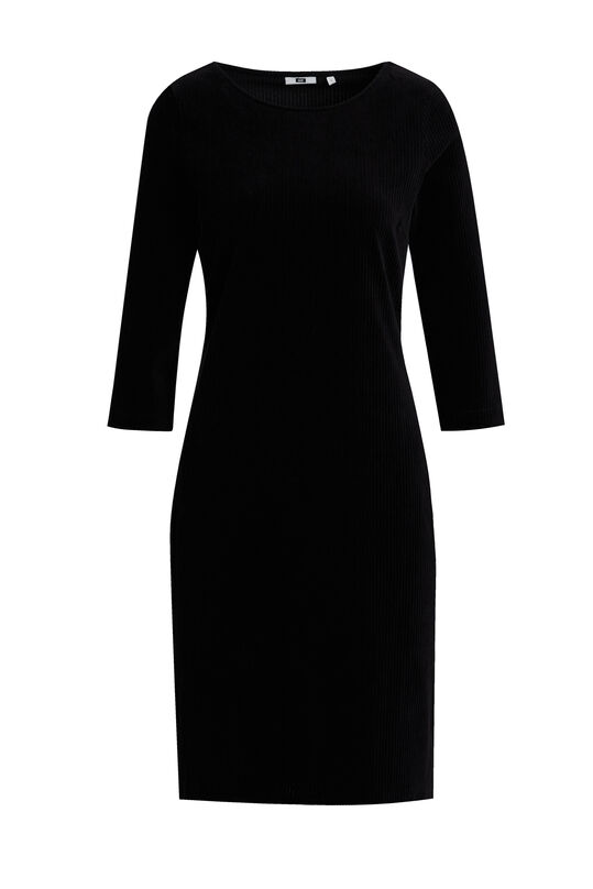 Damen-Samtkleid in Ripp-Optik Schwarz