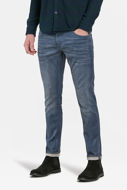 HERREN-STRETCH-JEANS MIT TAPERED LEG Grau