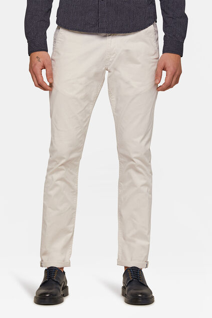 Herren-Slim-Fit-Chinos mit Tapered Leg Elfenbein