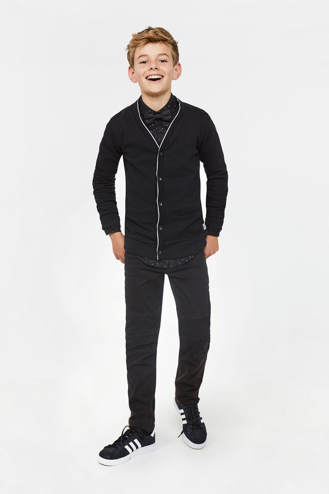 Jungenstrickjacke in Rippstrick-Optik Schwarz