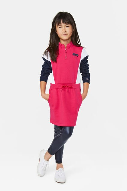 Mädchen-Sweatkleid in Colourblock-Optik Rosa