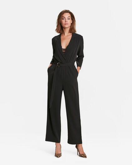 DAMEN-JUMPSUIT IN WICKELOPTIK Schwarz