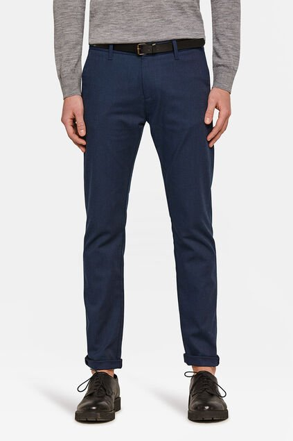 Herren-Skinny-Fit-Chino in melierter Optik Marineblau