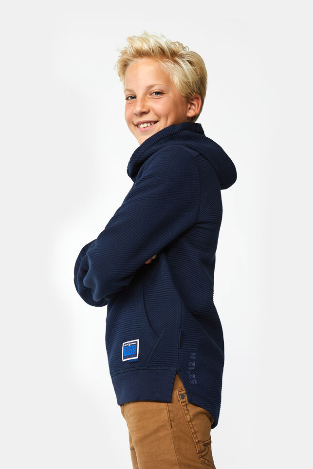 Jungen-Sweatshirt in Ripp-Optik Marineblau