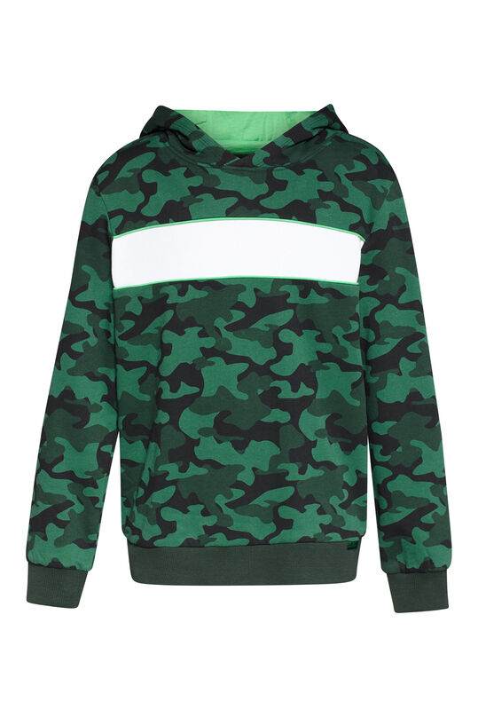 Jungen-Kapuzensweatshirt in Colourblock-Optik Giftgrün
