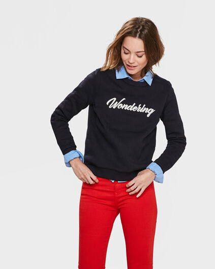 "DAMEN-SWEATSHIRT ""WONDERING"" Dunkelblau"