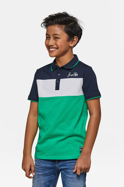 Jungen-Poloshirt in Colourblock-Optik Blau