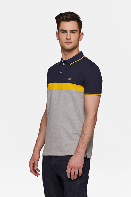 Herren-Piqué-Poloshirt in Colourblock-Optik Dunkelblau