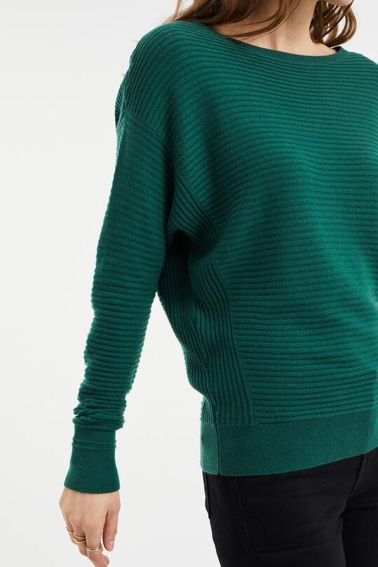 Damen-Feinstrickpullover in Ripp-Optik Grün