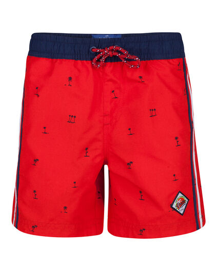 JUNGEN-BADEHOSE MIT PALMENMUSTER Rot
