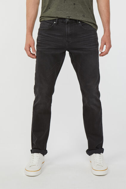 Herren-Regular-Straight-Jeans aus Comfort-Stretch Schwarz
