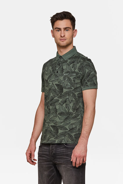 Herren-Poloshirt in Garment-Dyed-Optik Armeegrün