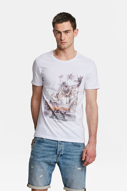 "HERREN-T-SHIRT MIT ""MR. FREEDOM""-PRINT Weiß"