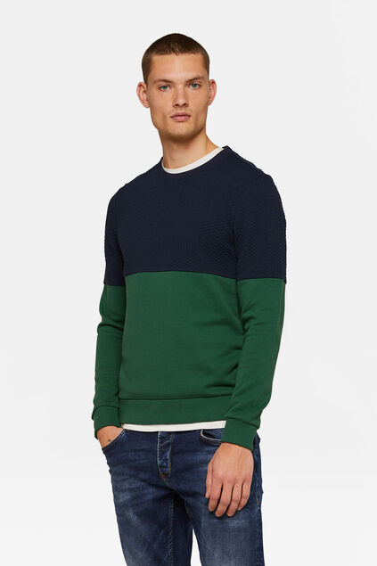 HERREN-SWEATSHIRT IN COLOURBLOCK-OPTIK Dunkelgrün