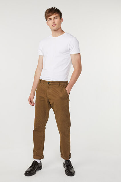 Herren-Regular-Fit-Chinos Braun