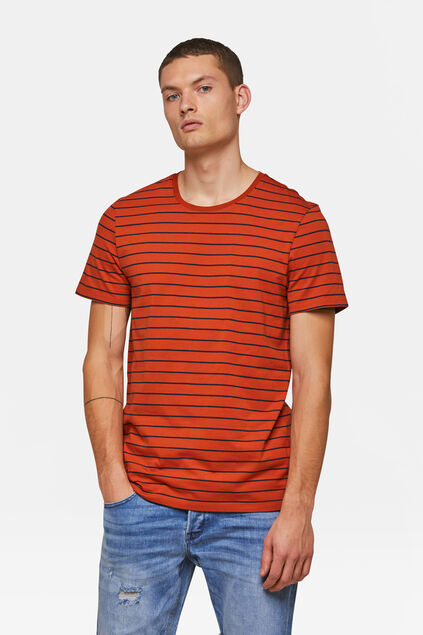 Herren-T-Shirt mit Matrosenstreifen Orange