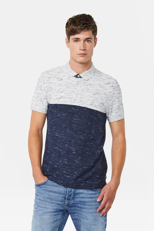 Herren-Poloshirt in Colourblock-Optik Dunkelblau