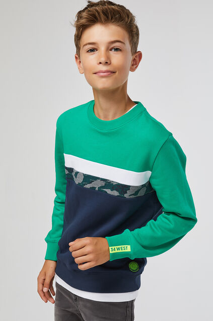 Jungen-Sweatshirt in Colourblock-Optik Grün