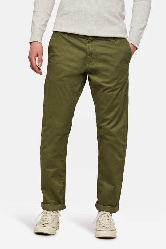 HERREN-REGULAR-FIT CHINO MIT TAPERED LEG Armeegrün