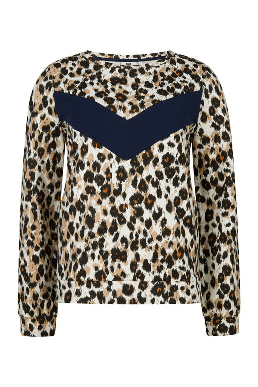 Damen-Sweatshirt mit Animal-Print Hellbraun