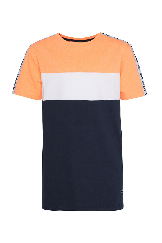 Jungen-T-Shirt in Colourblock-Optik Knallorange