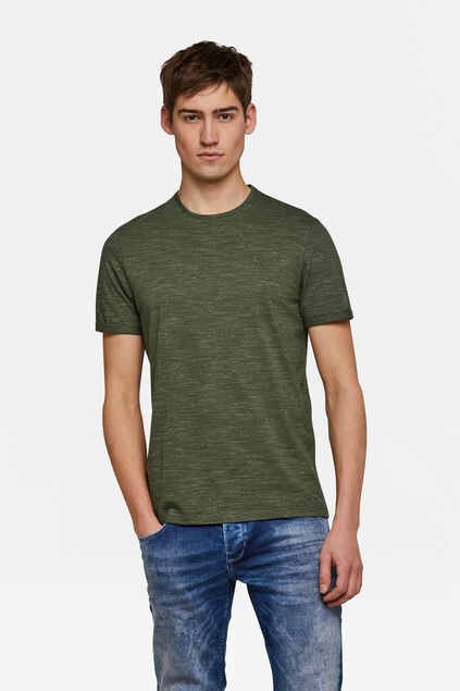Herren-T-Shirt in melierter Optik Armeegrün