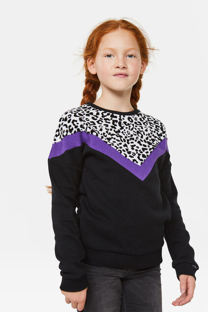 Mädchen-Sweatshirt in Colourblock-Optik Schwarz