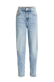 Mädchen-Relaxed-Fit-Jeans mit hoher Taille_Mädchen-Relaxed-Fit-Jeans mit hoher Taille, Blau