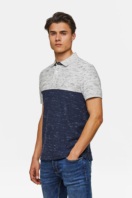 Herren-Poloshirt in Colourblock-Optik Blau
