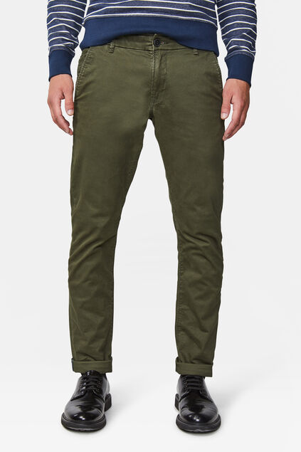 Herren-Slim-Fit-Chinos mit Tapered Leg Dunkelgrün