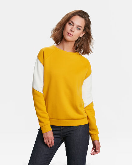 DAMEN-SWEATSHIRT IN COLOURBLOCK-OPTIK Senfgelb