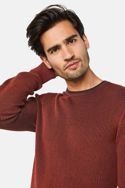 Herrenpullover in Rippstrick-Optik Braun