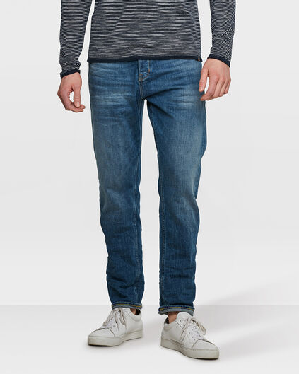 HERREN-LOOSE-FIT-COMFORT-STRETCHJEANS MIT TAPERED LEG Blau