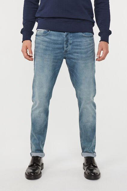 Herren-Skinny-Tapered-Jeans aus Super -Stretch Graublau