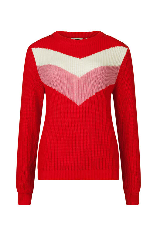 DAMENPULLOVER IN COLORBLOCK-OPTIK Rot
