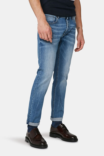 Herren-Slim-Fit-Jeans comfort stretch mit Tapered Leg Hellblau