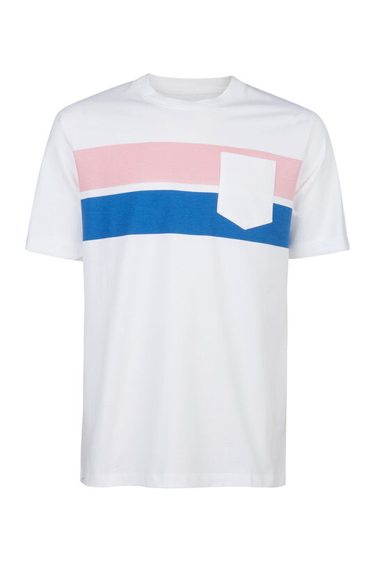 Herren-T-Shirt in Colourblock-Optik Rosa