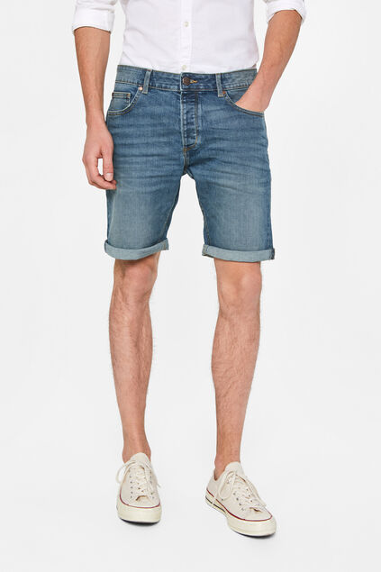 Herren-Regular-Fit-Jeansshorts Graublau