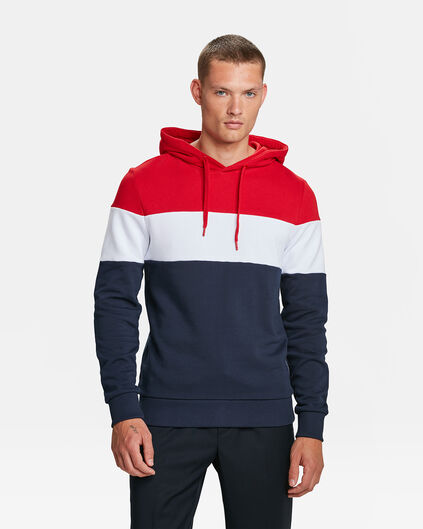 HERREN-KAPUZENSWEATSHIRT IN COLOURBLOCK-OPTIK Marineblau
