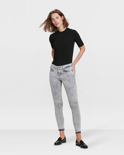 DAMEN-SUPERSKINNY-JEANS AUS HIGH-STRETCH-DENIM Hellgrau