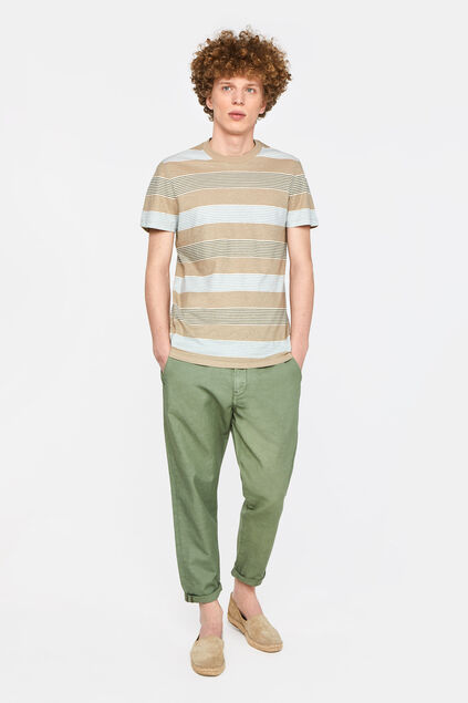 Herren-Slim-Fit-Chinos aus Leinen-Mix Armeegrün