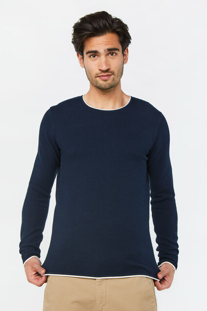 Herrenpullover in Rippstrick-Optik Blau
