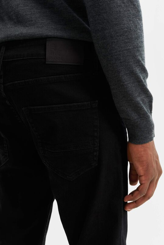 Herren-Tapered-Fit-Jeans mit Super-Stretch Schwarz