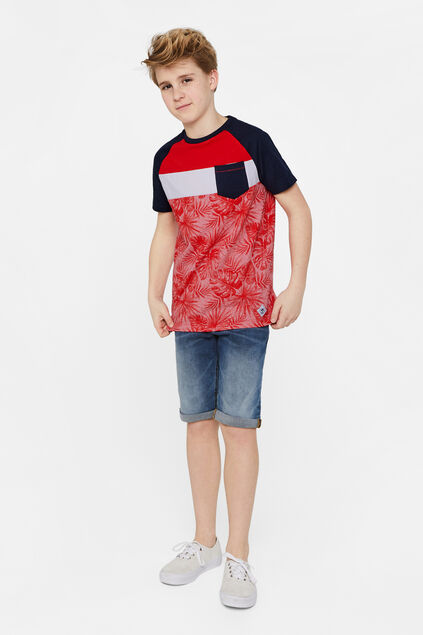 Jungen-T-Shirt in Colourblock-Optik Rot