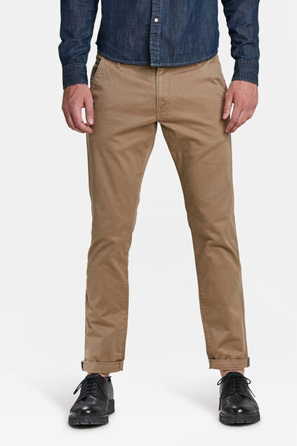 Herren-Slim-Fit-Chinos mit Tapered Leg Cognac