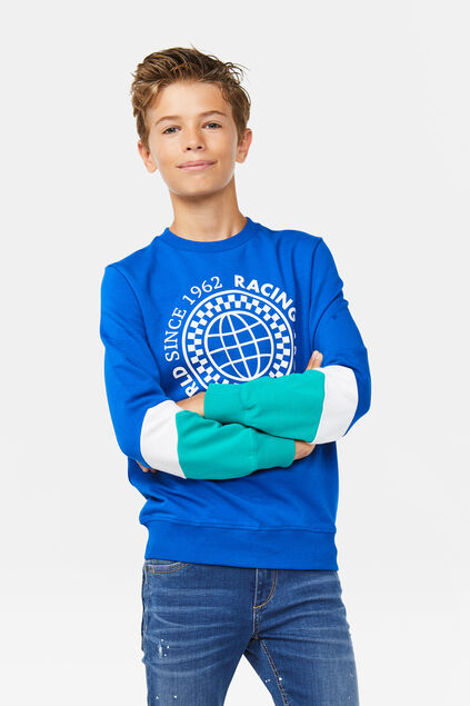 Jungen-Sweatshirt in Colourblock-Optik Knallblau