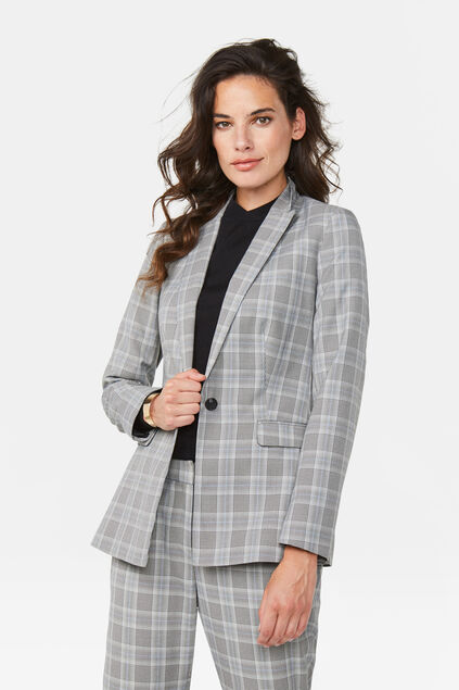 Damen-Regular-Fit-Blazer Hellgrau meliert